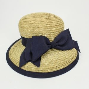 NWT Vintage Kokin Large Straw Bow Hat